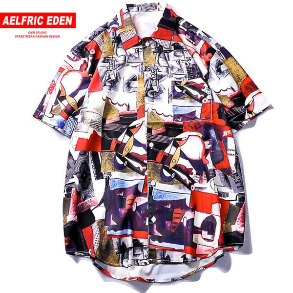 Aelfric Eden Graffiti Printed Short 2019 Summer Turn-down Shirts Hip Hop Streetwear Hawaii Shirt Fashion Couple Tops Tees C19040402