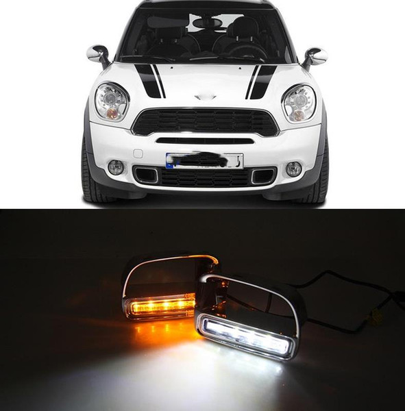 1 Pair DRL For BMW Mini Daytime Running Light with Turn Yellow Signal Relay Waterproof LED DRL 12V LED Daylight