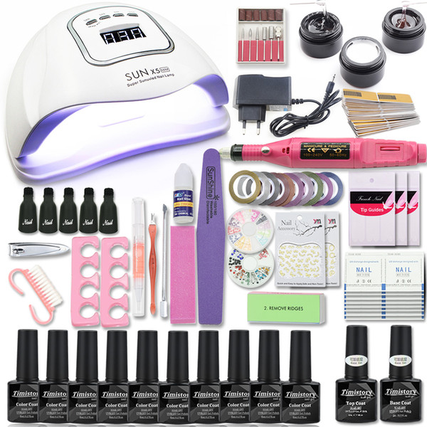 best selling Manicure Set 80W Nail Lamp Nail Set &10 Color UV Gel Polish Tools Extension gel Art Kits for Manicure files