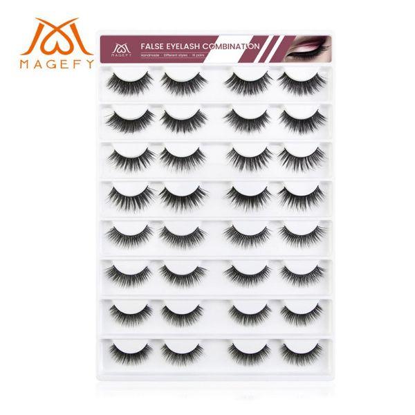 New Hot 16 pairs chemical fiber false eyelashes soft and long thick natural curling eyelashes Popular False Lashes Makeup 4 types