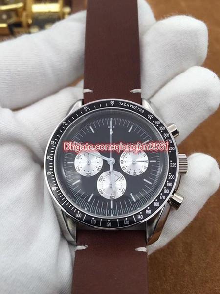 Nuevo Mejor calidad de línea clásica 42mm negro de cuero marrón de lujo para hombre relojes correa de movimiento cronógrafo de cuarzo relojes de importación 01