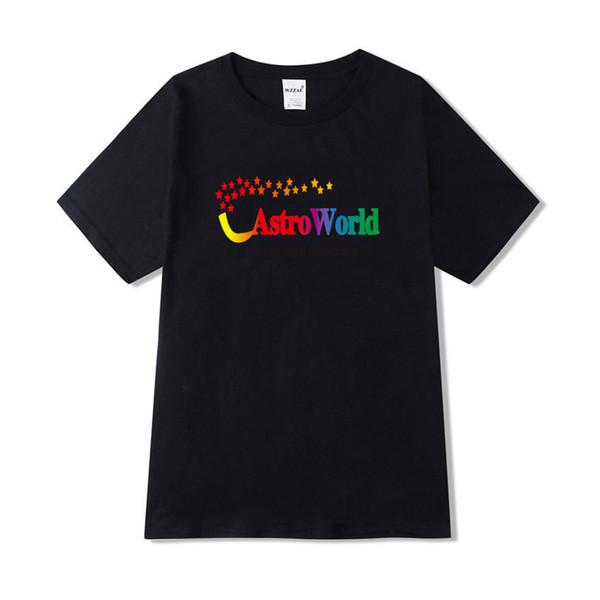 Mens Verão SS19 Tshirt Astroworld Travis Scott Letras de Manga Curta Tops Tees