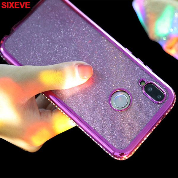 Luxury Plating Diamond Bling Glitter Silicon Case For Huawei P20 Lite Pro Huawei Mate 10 Lite honor 9 Cell Phone Mobile Cover on