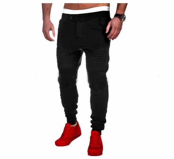 2019 Pantalones para hombre Diseñador Harem Joggers Pantalones de chándal Elastic Cuff Drop Crotch Biker Joggers Pantalones para hombres Negro Gris Gris oscuro Blanco Al por mayor