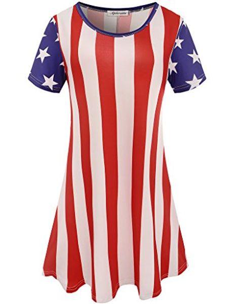 Aphratti Women's Cute Short Sleeve July 4th American Flag Summer Casual Dress