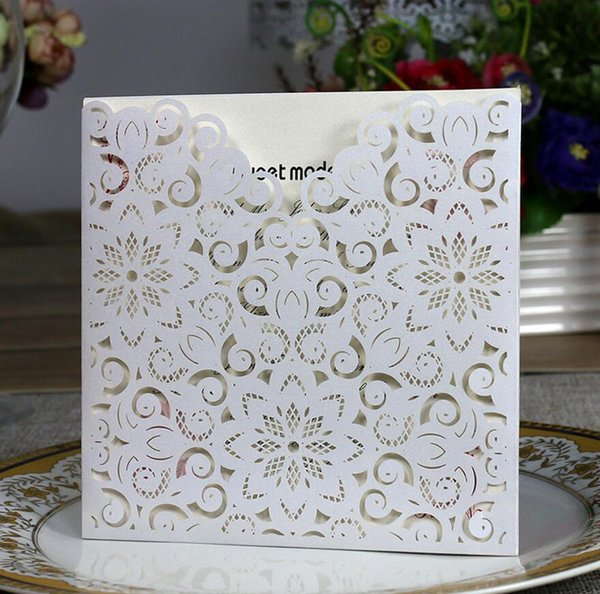 100pcs Laser Cut Hollow Lace Flower Invitations Card For Wedding Party Invitation Cards with Envelope & Seal