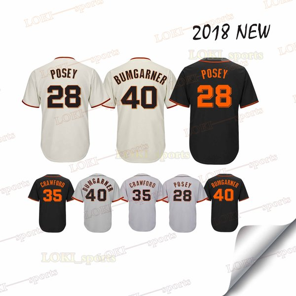 online store e5596 b51b2 2019 San Francisco Giants Jerseys 35 Brandon Crawford 40 Madison Bumgarner  2018 New 100% Stitched Superior Quality Top MEN Jersey Sportswear From ...