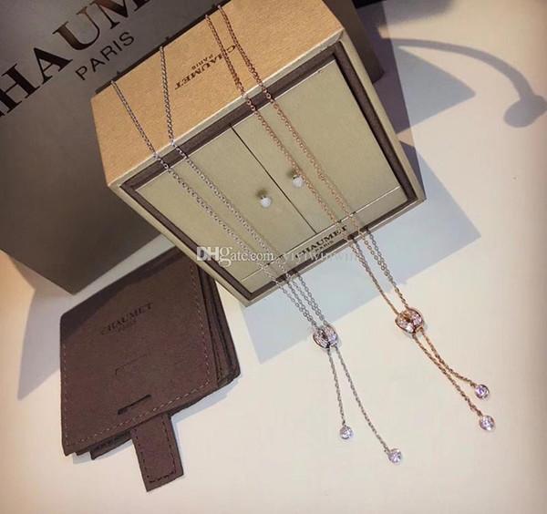 Wholesale Ladies Necklace Womens Jewelry Luxury Lady 925 Silver Italy CM  Paris Collana Pendants Gold Chain Pendentif Ladies Collier Femme Original  Box
