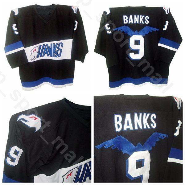 Mighty Ducks Movie 9 Adam Banks Трикотажные изделия для хоккея с шайбой Hawks Men Sale Team Цвет Черный Все сшитые дышащие Высочайшее качество в продаже