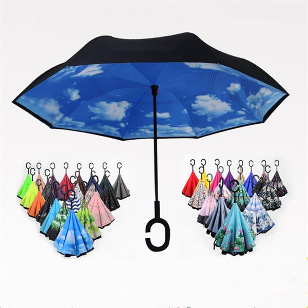 2019 Folding Reverse Umbrella 52 Styles Double Layer Inverted Long Handle Windproof Rain Car Umbrellas C Handle Umbrellas