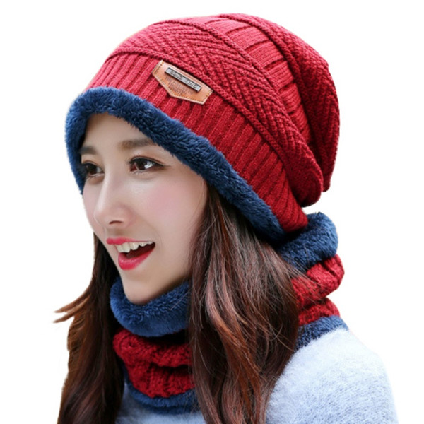 Winter Unisex Hats Caps Slouch Warm Hat Festival Unisex Cap Solid Color Bonnet Hats 2pcs Knitted Hat + Muffler Snowflake