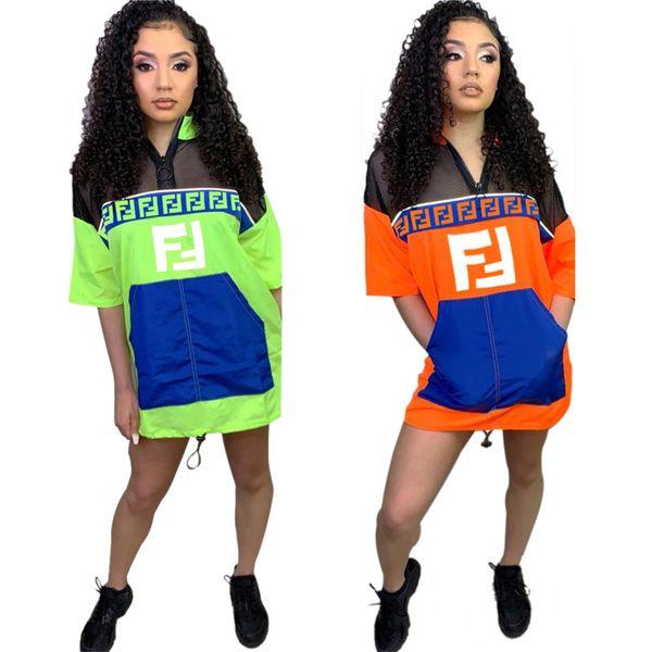 Mulheres FF T-shirt Vestidos Casaco de Verão de Malha de Manga Curta Patchwork Vestidos Ultrathin Protetor Solar Zipper Saia Capa De Chuva Material de Roupas Casuais