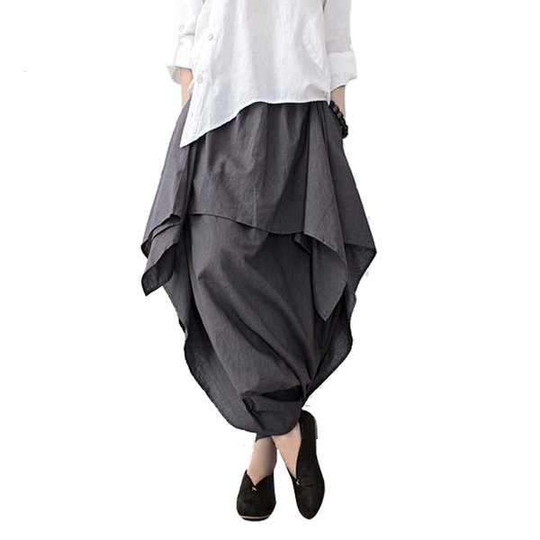 Johnature 2019 New Women Wide Leg Loose Linen Cotton Asymmetric Pants Original Designer Plus Size Capris Elastc Waist Skirt J190620