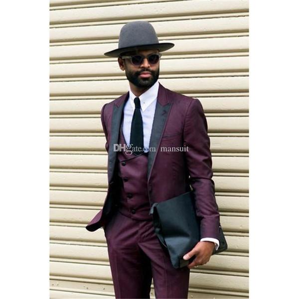 Nouvelle arrivée garçons d'honneur pointe revers marié smokings violet hommes costumes costumes mariage / bal / dîner meilleur homme blazer (veste + pantalon + gilet + cravate) M1106