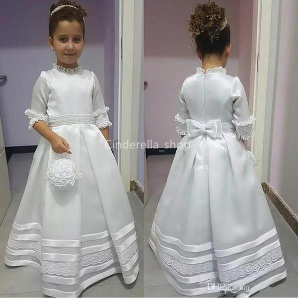 Довольно белые A-Line Платья для девочек-цветочниц 2019 с высокой шеей и половиной рукавов Платья для первого причастия Кружевные аппликации из бисера Вечерние платья