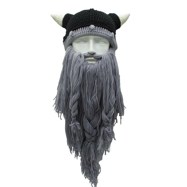 Funny Men Vikings Beanies Knit Hats Beard Ox Horn Handmade Knitted Winter Hats for Women Warm Caps Gift Party Mask Cosplay Cap