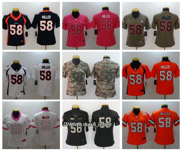 quality design 492be 3addb 2019 Women Denver Broncos American Football Jersey 58 Von Miller Color Rush  Stitching Jerseys Embroidery LOGO From Yengoh, $21.32 | DHgate.Com