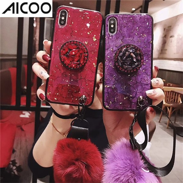AICOO Plush Ball Phone Case for Samsung S10 Plus Detachable with Lanyard Kickstand TPU Case for iPhone XS Max Huawei Mate20 OPP