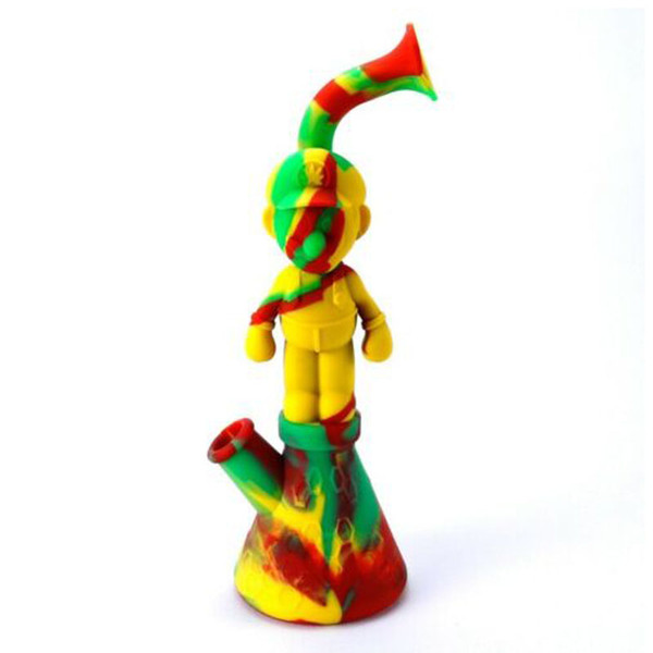 """Unbreakable Silicone Dab Rig Bong 11.22"""" tall Mario Wax Smoking Hookah Bowl Bubbler Water Pipes MOQ 5 Pieces"""