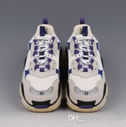 Nuevo Top 6 Suelas combinadas Paris Triple S 17FW Zapatillas de deporte de lujo Mujeres Hombres Chaussures deportivos Altura de plataforma Zapatos casuales Triple-s Negro