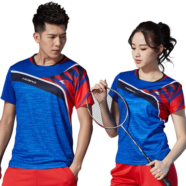 Badminton wear couple models T-shirt short-sleeved quick-drying color matching prints not faded table tennis sportswear S, M, L, XL, 2XL, 3X
