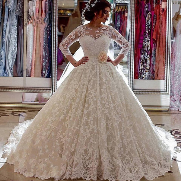 3/4 Sheer Long Sleeve Full Lace Wedding Dresses 2019 Ball gown Tulle Lace Appliqued Bridal Gowns Vintage Summer Beach Wedding Gowns