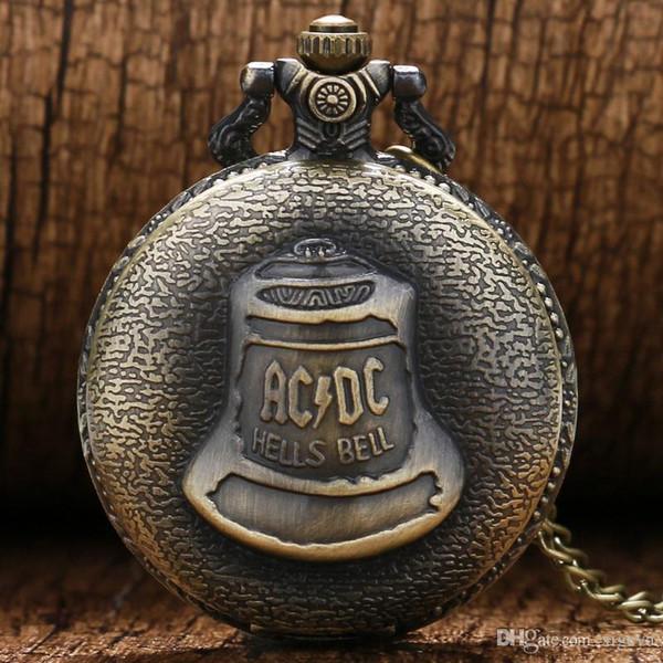2018 Hot Cool Retro Uhr für Männer Frauen Bronze AC DC Hell Bell Muster Quarz Taschenuhr mit Anhänger Kette Kreative Geschenk Relogio