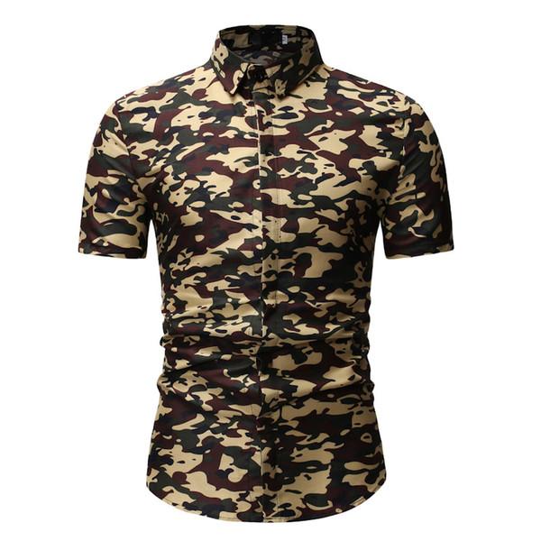 2019 Moda de verano Camisa para hombre Slim Fit Camisa de camuflaje verde militar de manga corta Ropa para hombre Tendencia Casual tops Camisas de flores