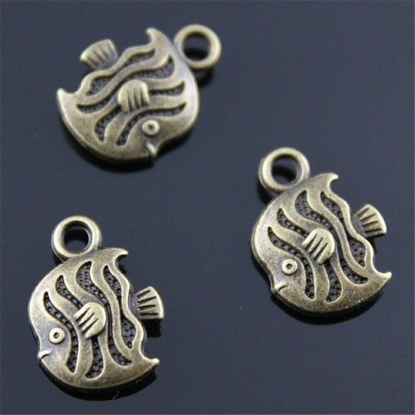 100pcs Charm Tropical Fish Vintage Small Fish Charms For Jewelry Making Antique Bronze Color Tropical Fish Charms 11x15mm