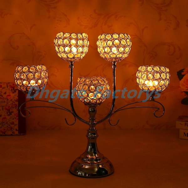 Handcrafted Crystal Candlestick Stand 5 Arms Candle Tealight Holder for Holiday Home Decoration Wedding Party Table Centerpieces
