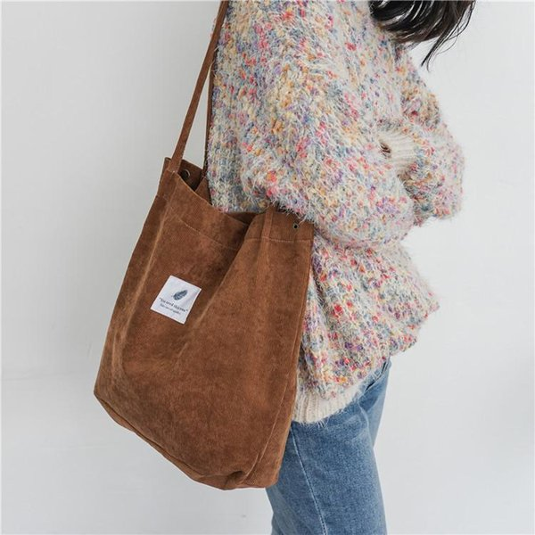 Nice Women Corduroy Canvas Tote Lady Casual Shoulder Bag Foldable Shopping Bags Beach Bag Cotton Cloth Female Handbag