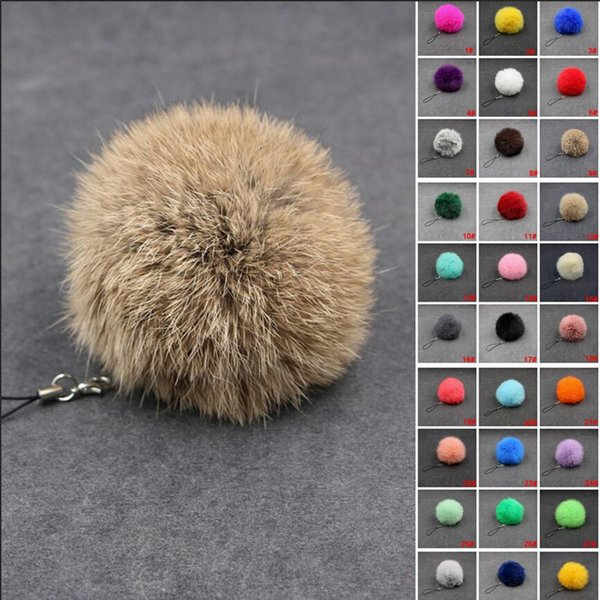 30Colors 8cm Fluffy Lovely Genuine Rabbit Fur Ball Plush Key Chain for Car Cell Phone Key Ring Bag Pendant Keychain