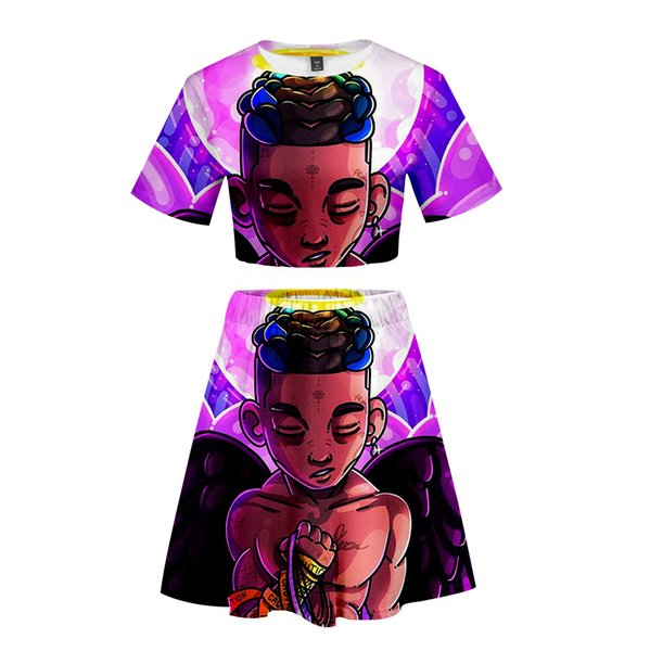 Xxxtentacion and Lil Peep Women Two Pieces Skirts Sets T-Shirt+Short Skirts Fan 2019 New Sexy Lady Funny Cool short set