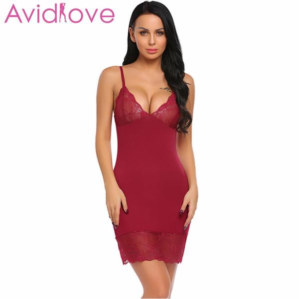 Avidlove Kadınlar Sexy Lingerie Gecelik Dantel Büyük Boy Sıcak Erotik Yaz Seksi Iç Çamaşırı Kesilmiş Chemise Uyku Elbise