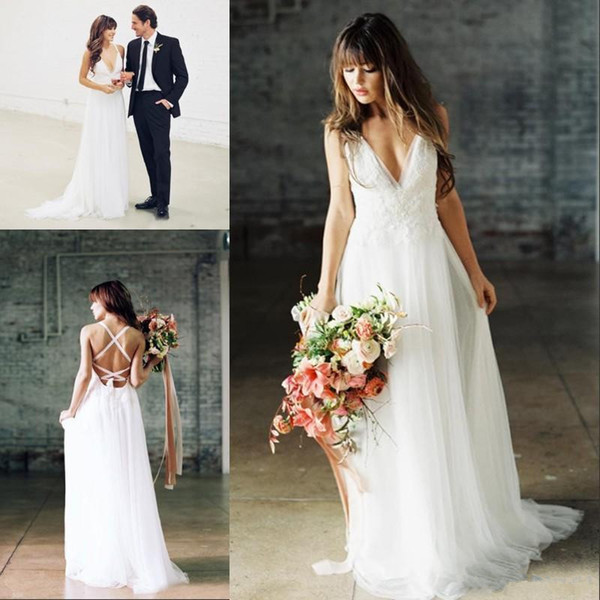 2019 Sexy Boho Wedding Dresses V Neck Backless Floor Length Chiffon Simple spaghetti Beach Bridal Gowns With Lace