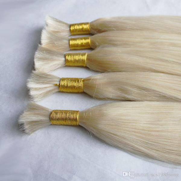 DHL Fedex Livre 100g / peça 3 pçs / lote 100% cabelo humano virgem barato cor branca loira 613 cabelo humano a granel