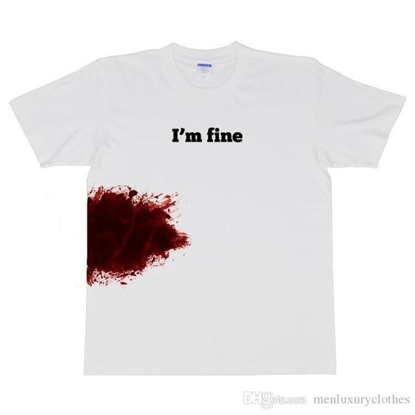 IAM FINE Letters Bloody Tshirt Мужские летние белые короткие футболки с короткими рукавами