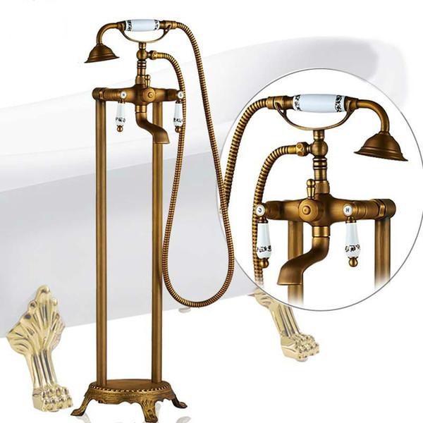 Античная латунная отдельно стоящая ванна Смеситель для ванной Двойная керамическая ручка Смеситель для ванны из нержавеющей стали