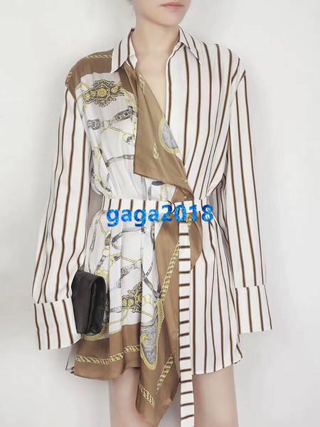 abiti da donna ragazza camicia con cintura patchwork a righe risvolto manica lunga vintage a-line gonna midi fascia alta estate personalizzata pista abito