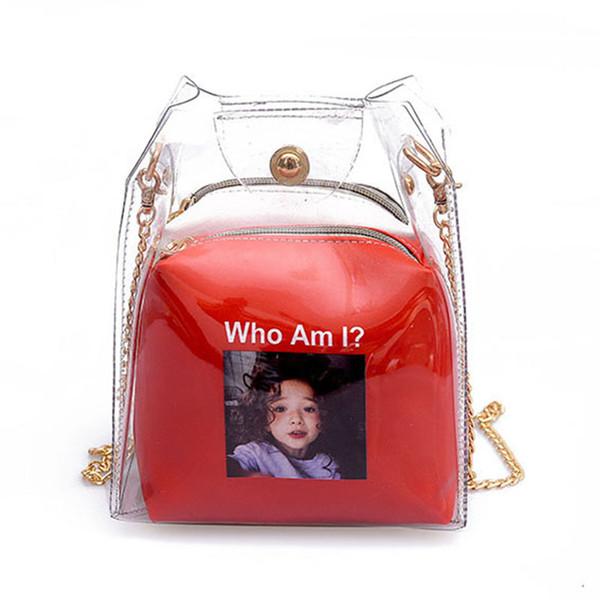 Bolsas de cubo pequeñas para mujer Mapa de pulverización Bolsas de plástico transparente Bolso de cadena compuesto Mini bolsos de gelatina Rojo