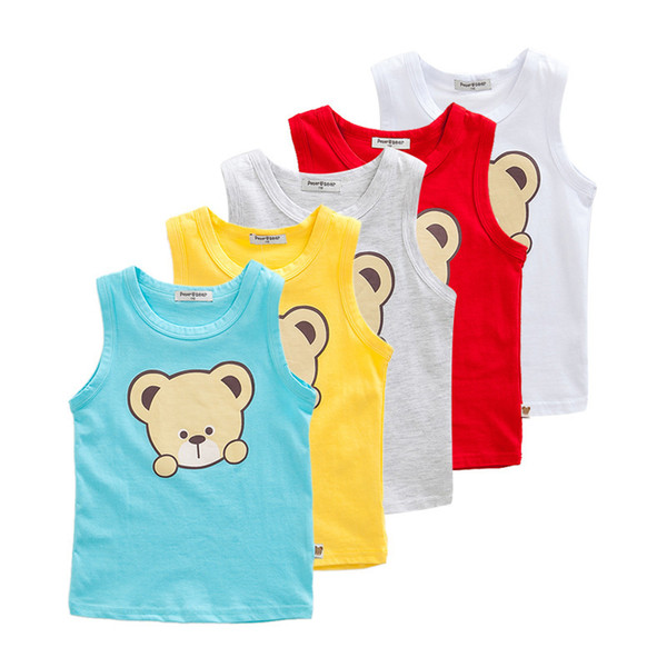 4-7 Years Baby Boys Vest Kids Sleeveless T-shirt 100% Cotton Summer Children Clothing Blue Yellow Grey White Red