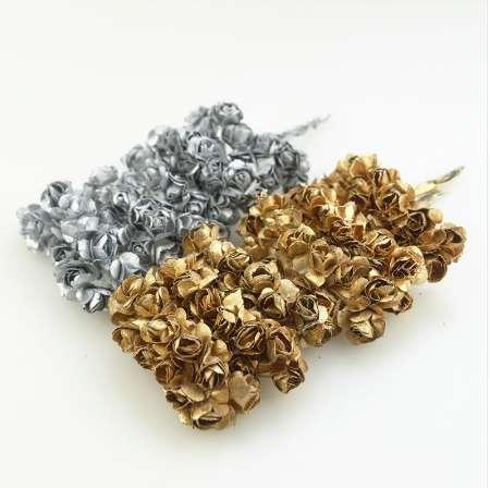 Cheap 12pcs 2cm Gold Silver Plum Artificial Mini Paper Rose Scrapbook Wedding Party Decoration Handicraft Accessories Christmas