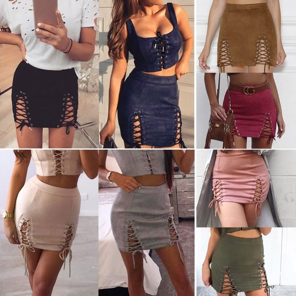 2019 Spring Sexy OL Skirts Women Skirt Lace up Suede Skirt Slit Eyelets Straps Party Shorts Suedtte Western Solid Slim Vintage Skirts