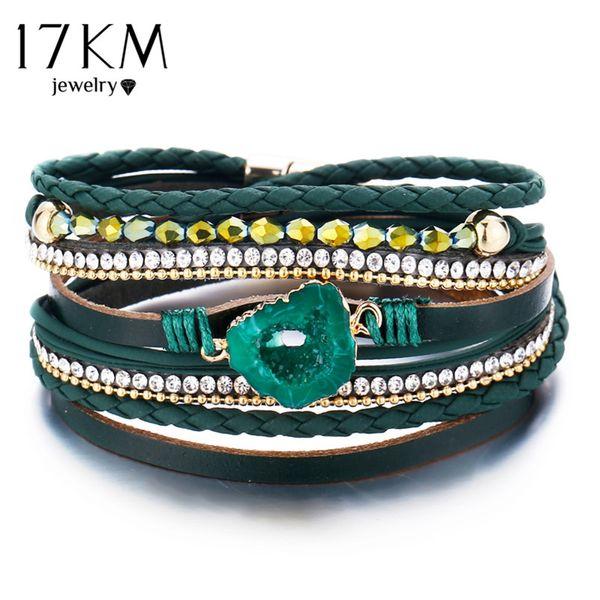 Green Stone Bracelet & Bangle For Women 2019 New Boho Multiple Layers Wristband Leather Bracelets Charm Fashion Jewelry