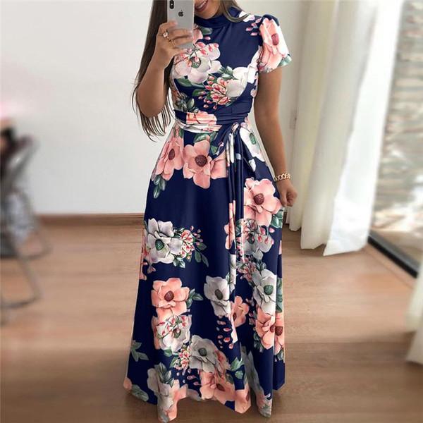 Compre Vestido De Verano De Las Mujeres 2019 Casual Manga Larga Vestido Largo Boho Estampado Floral Maxi Vestido De Cuello Alto Vendaje Vestidos