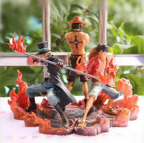 Nueva Caliente 3 unids / set 14-17 cm One Piece Monkey D Luffy Ace Sabo Coleccionistas Figura de Acción Juguetes Juguete de Navidad J190719