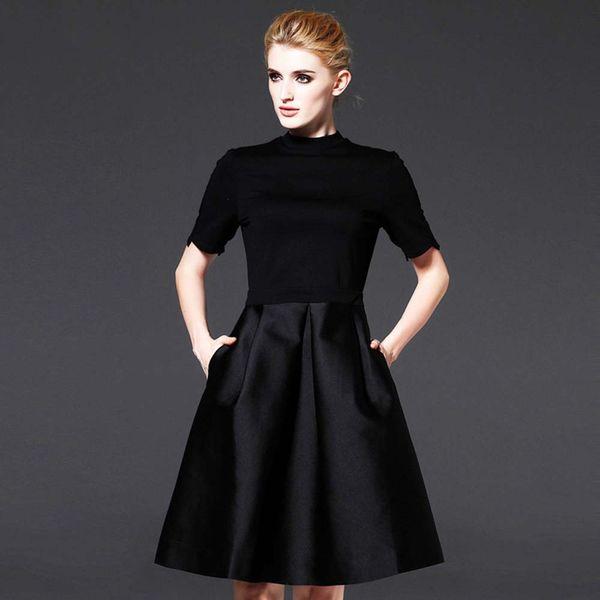 Classic 50s Elegant Women Dress Hepburn Black Dress Long Short Sleeve Choices Knee Long 2 Choices F2897 High Quality