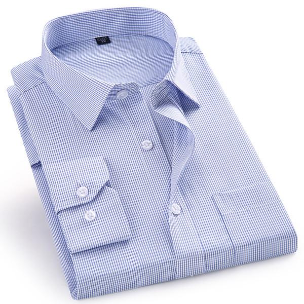 High Quality Men's Dress Casual Plaid Long Sleeved Shirt Male Regular Fit Blue Purple 4XL 5XL 6XL 7XL 8XL Plus Size Shirts