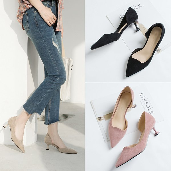 Hot Sale-Spring new women non-slip suede dress shoes 5cm high heels girl stiletto pointed side empty professional work shoes black
