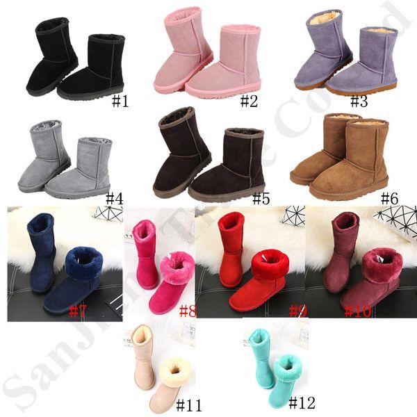 Kids Classic Australia Snow Boots Designer Ug Girls Boys Winter Furry Boots Unisex Short Mid Calf Boot Child Warm Shoes Size 22-34 C72910